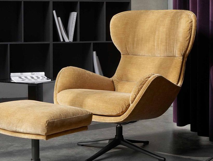 Golden beige Reno chair with footstool