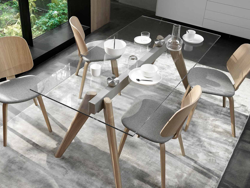 Monza glass table and oak chairs with grey fabric seats
