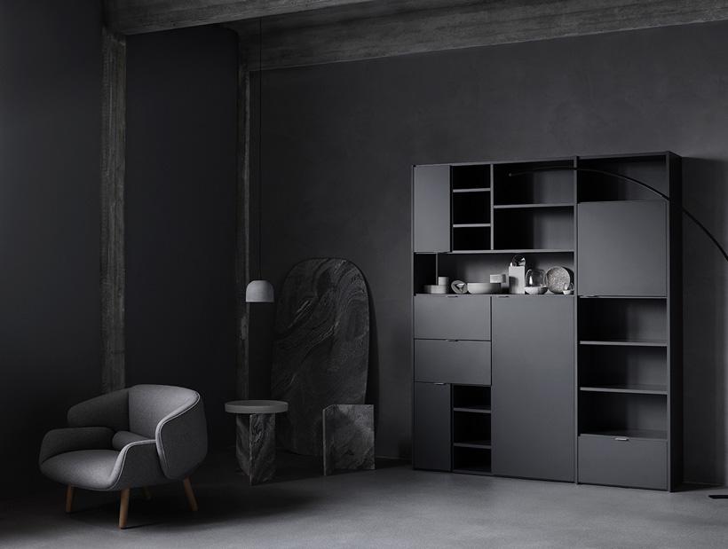 Black Copenhagen wall system and grey Fushion chair