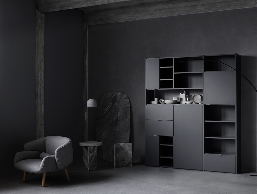 Black Copenhagen wall system and grey Fushion chair