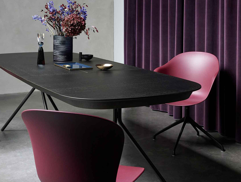 Dark oak Ottawa dining table with rustic red Adelaide chairs