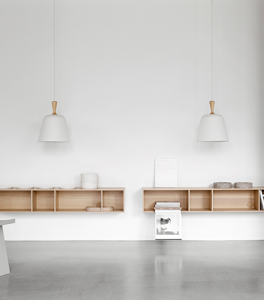White handle me pendant and Copenhagen wall system