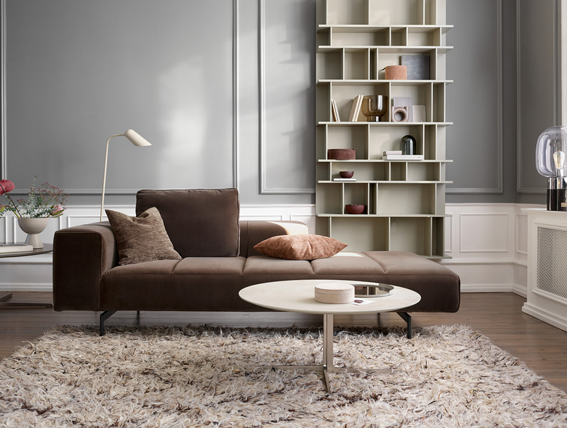 Copenhagen wall system, dusty brown Amsterdam sofa and white coffee table