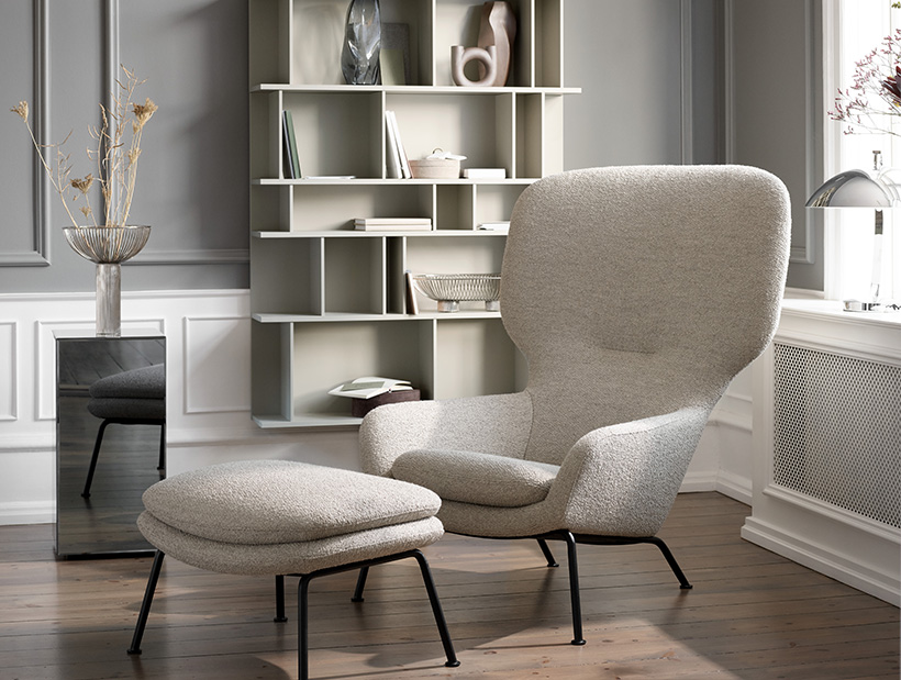 Grey Dublin chair with footstool and Copenhagen wall system