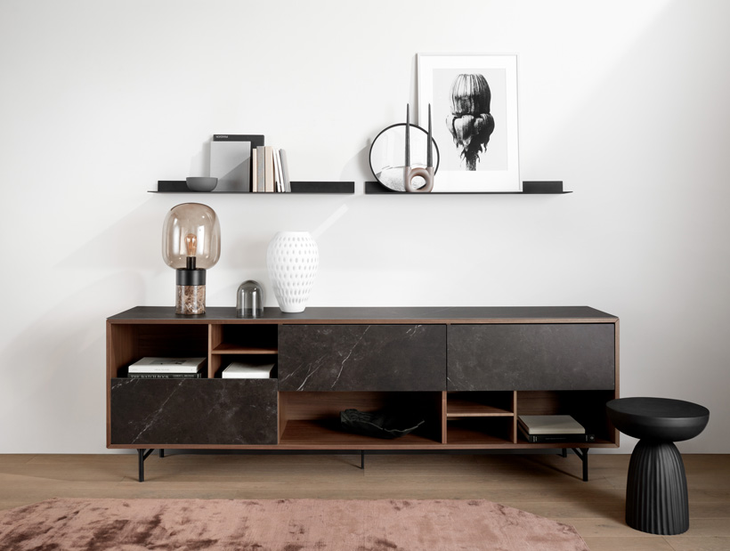 Manhatten sideboard in Walnut veneer with dark marble ceramic front and black expose side table