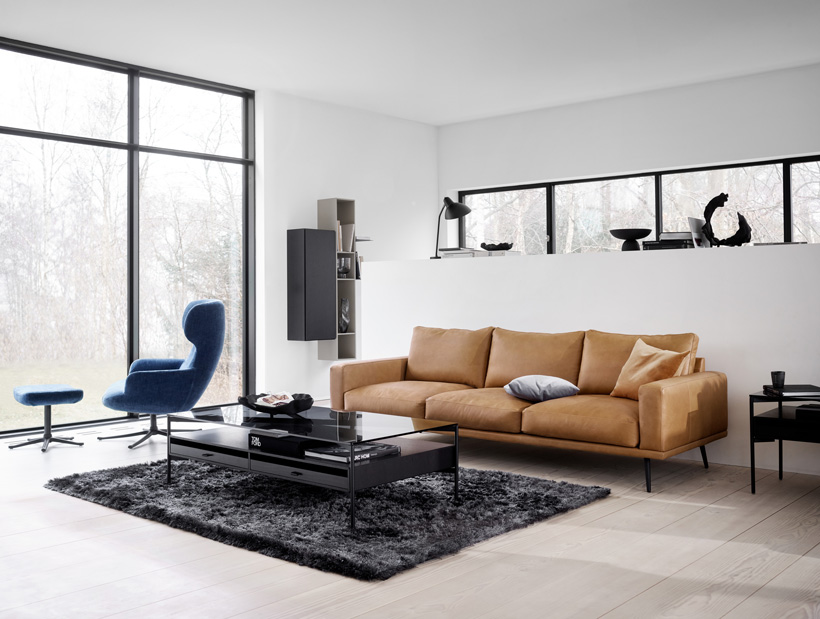 Carlton sofa in brown leather and black Los Angeles coffee and side table