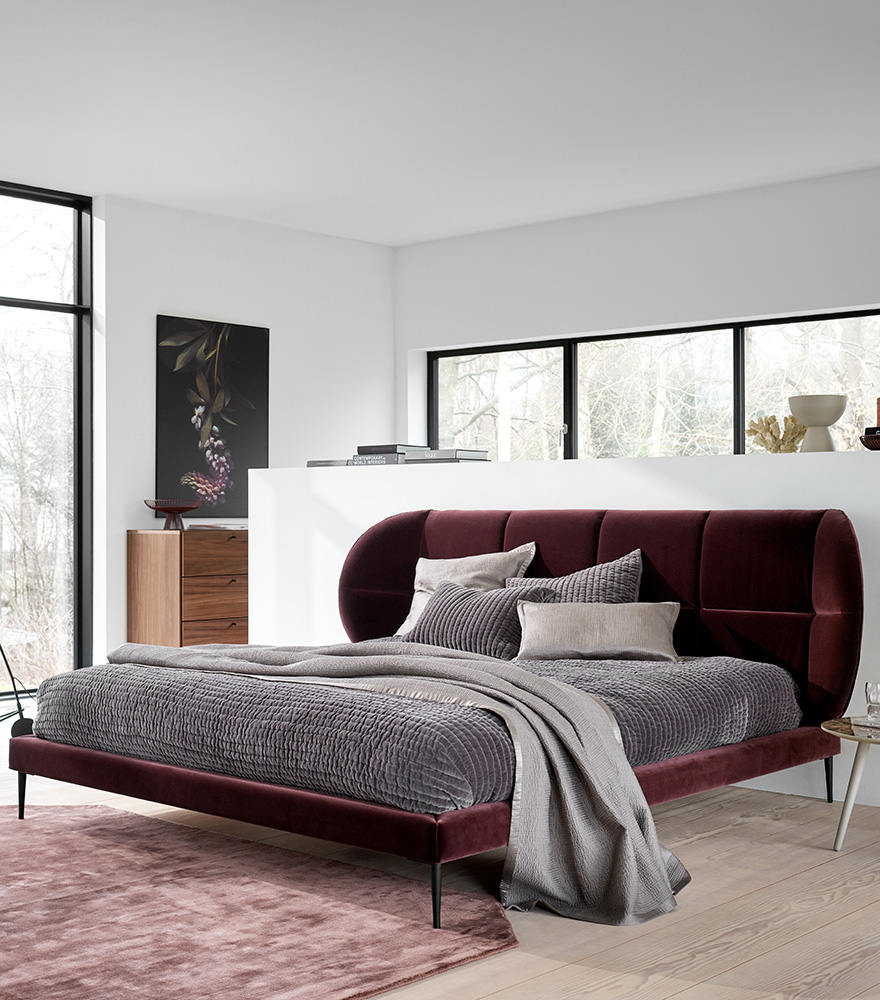 Purple cotton velvet Oxford bed with stone grey cushions and bedspread