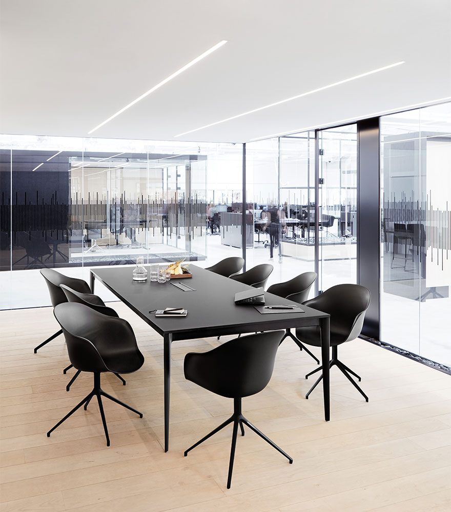Black conference table and chairs