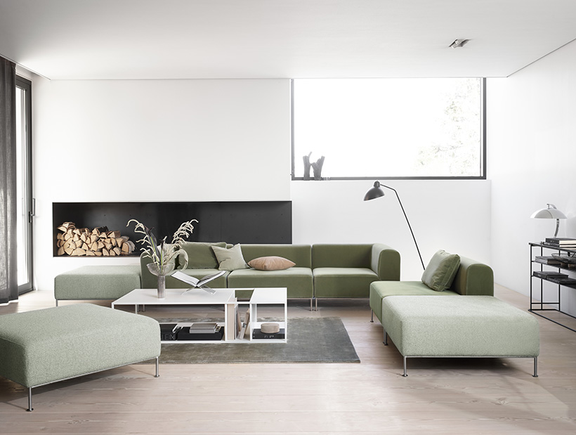 Miami Sofa, cushions and footstool in light green cotton velvet and a white Philadelphia coffee table