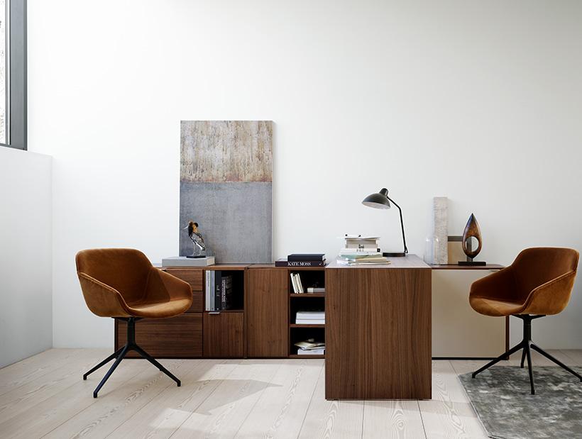 Copenhagen office system in Walnut Veneer and camel cotton velvet Vienna chairs