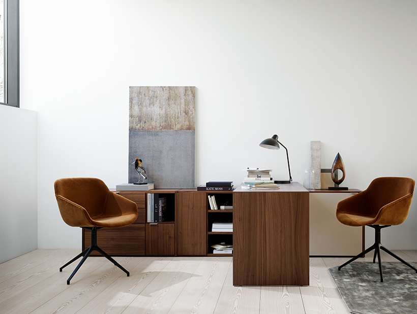 Copenhagen office system in Walnut Veneer and camel cotton velvet Vienna chairs