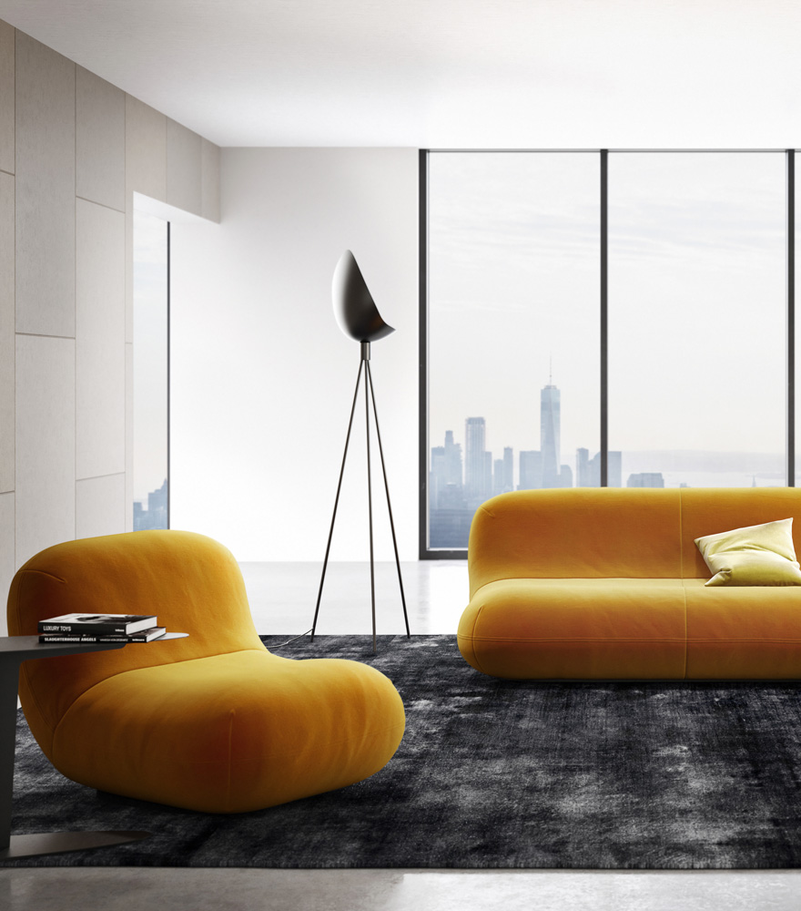 Chelsea Sofa and chair in mustard yellow