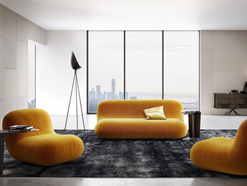 Chelsea Sofa and chair in mustard yellow and Chelsea floor lamp in black metal