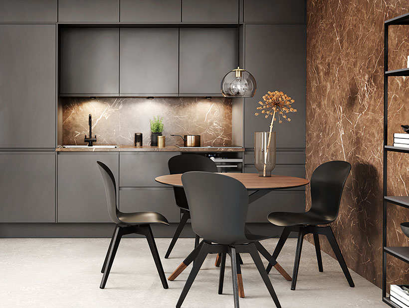 Wooden dining table with black Adelaide chairs