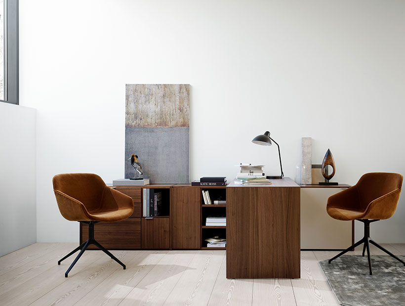 Home office with brown velvet chair