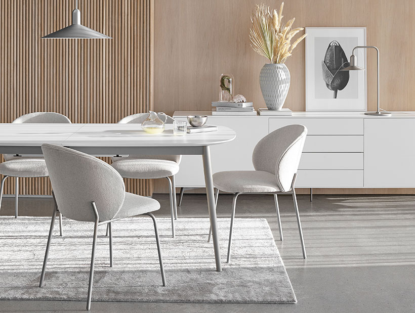 White Kingston dining table and light grey Princeton dining chairs
