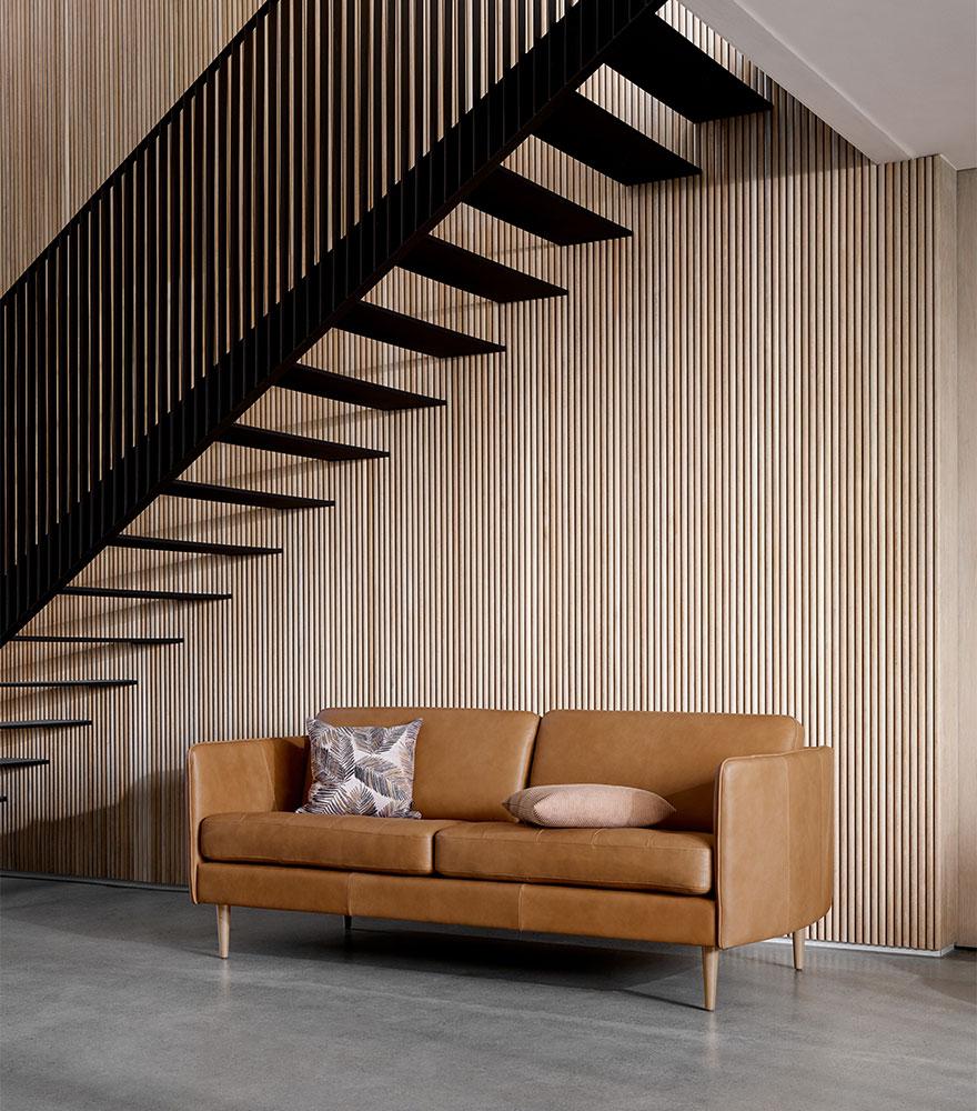 Camel leather sofa