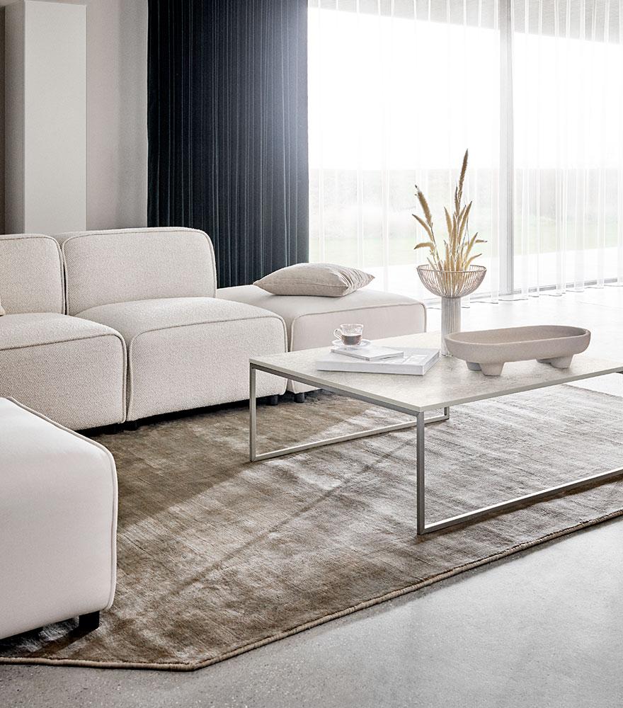 White fabric sofa