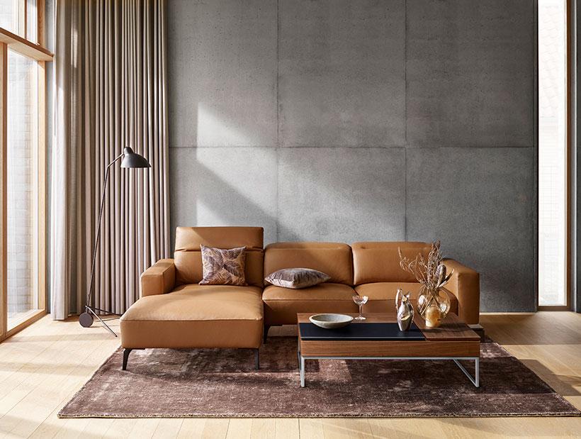 Camel leather Zürich sofa