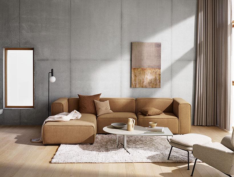 Camel velvet sofa