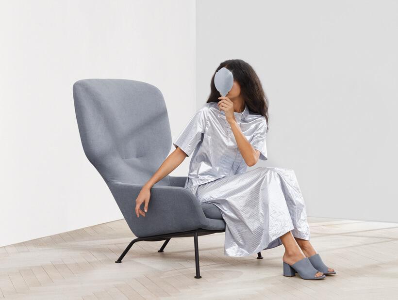 Woman sitting in Dublin arm chair