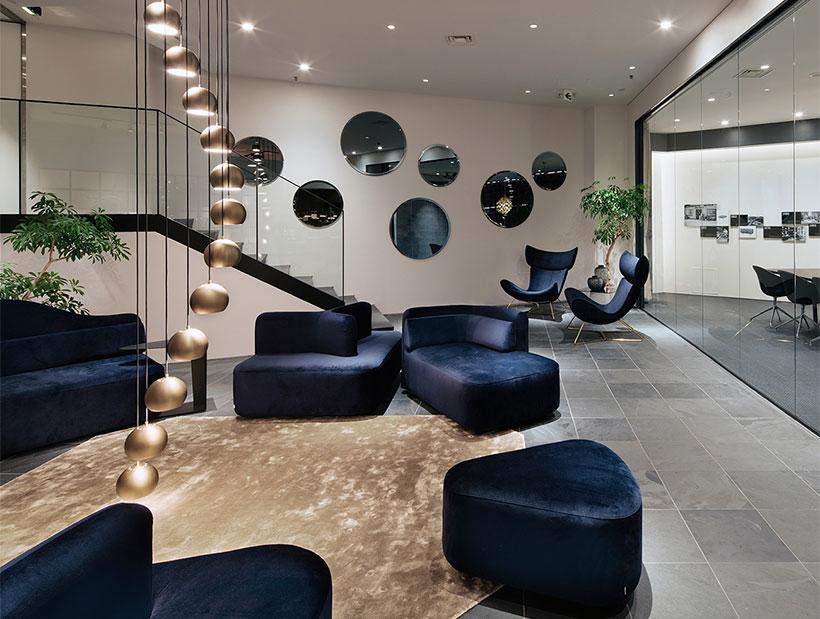 Living room with blue velvet sofas