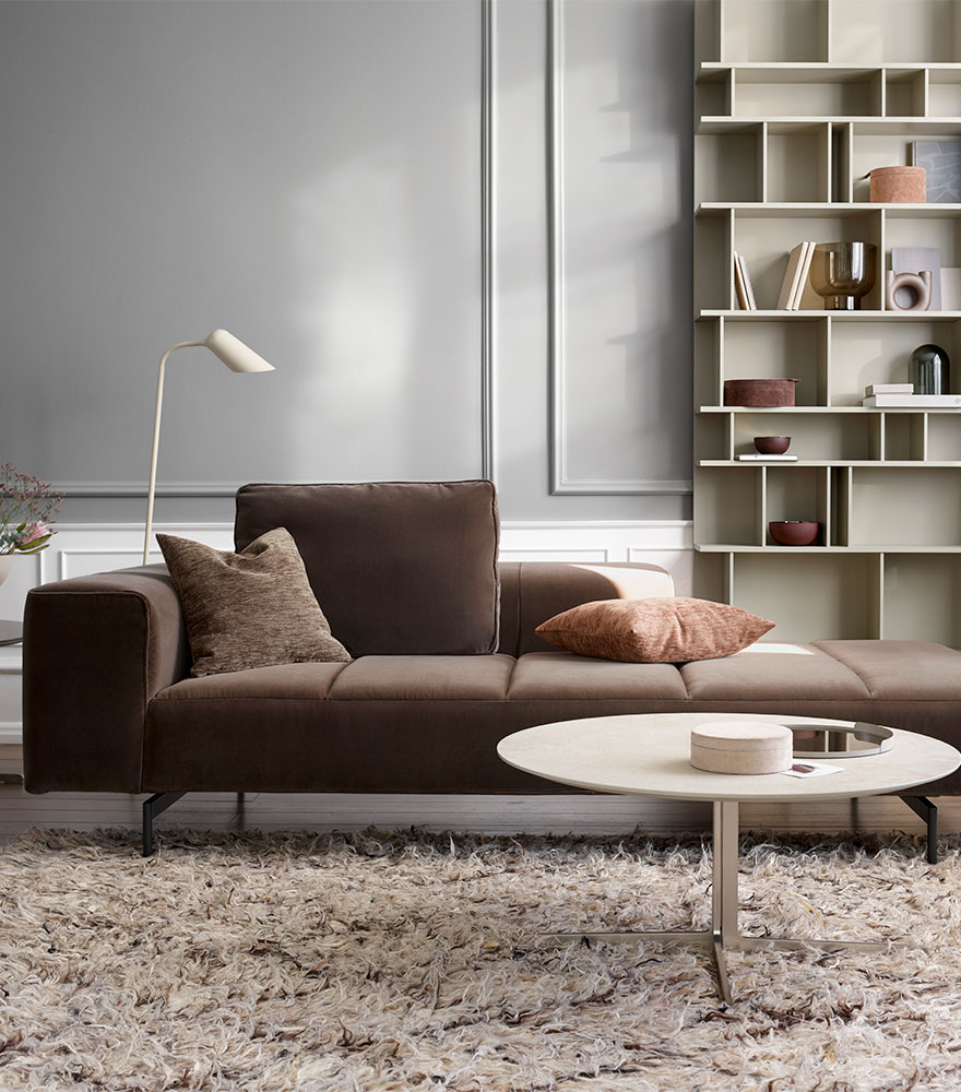 Brown Amsterdam sofa with open end