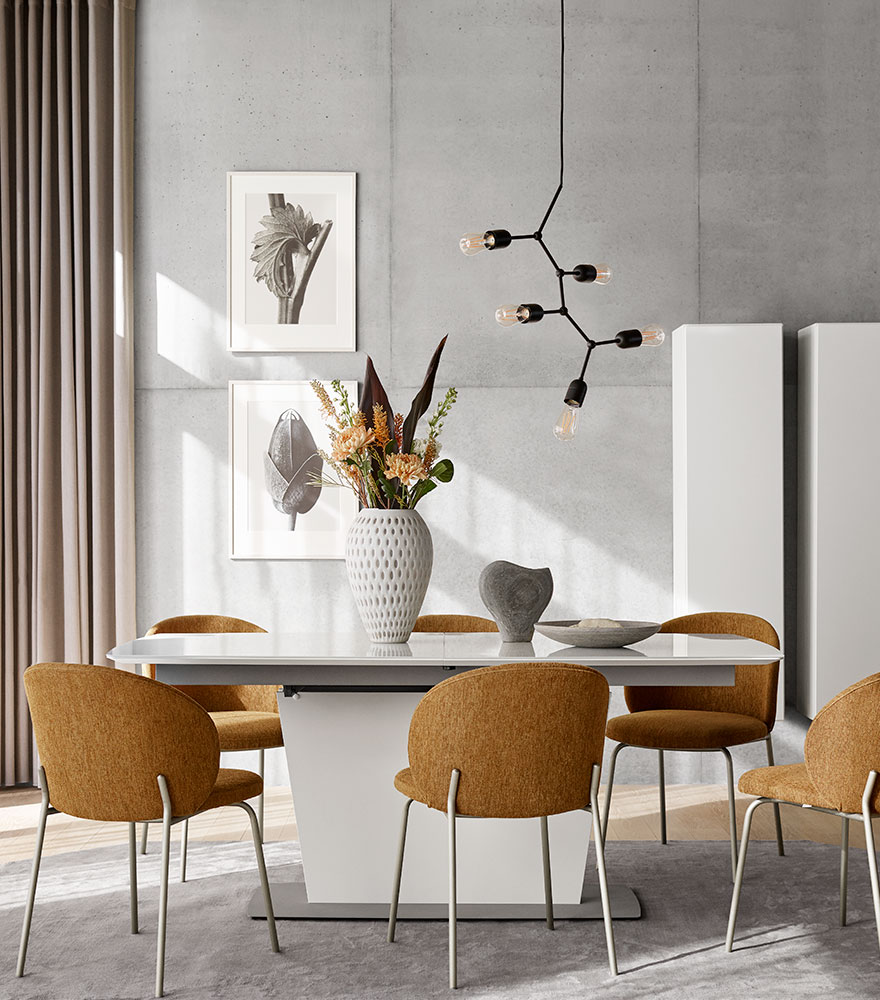 Camel fabric Princeton dining chairs