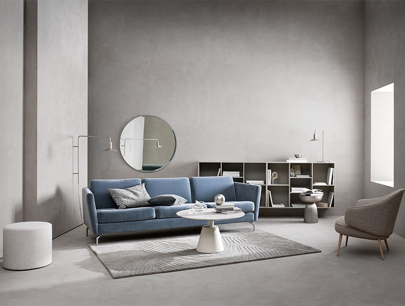 Blue Osaka sofa with white coffee table
