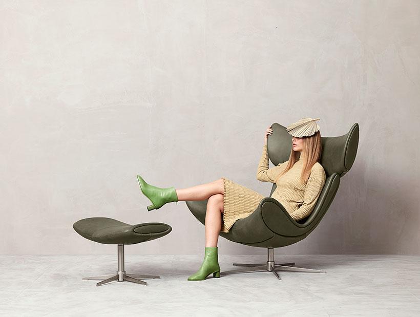 Zelené kožené křeslo Imola