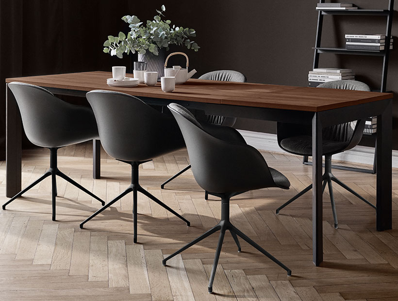 Lyton dining table and black adelaide chairs
