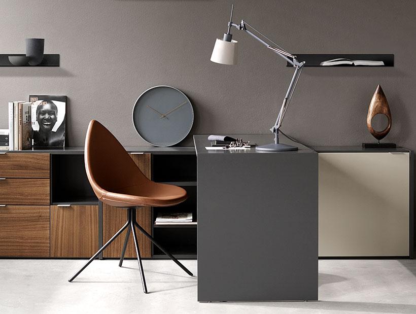 Copenhagen desk and brown Ottawa chair