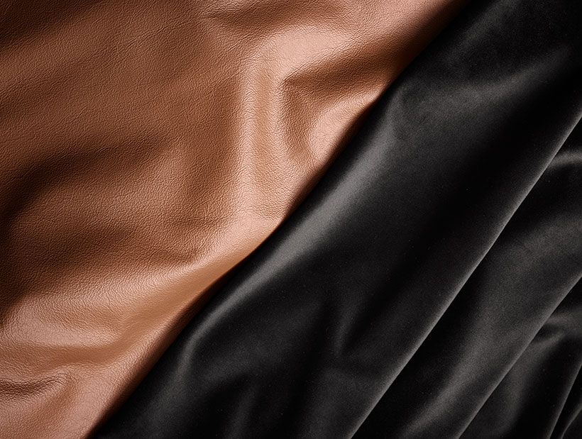 Brown and black leather close up