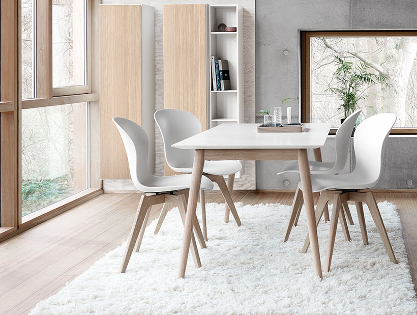 White Milano dining table and adelaide chairs