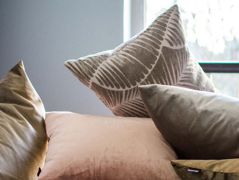 Pink and other coloured cushions