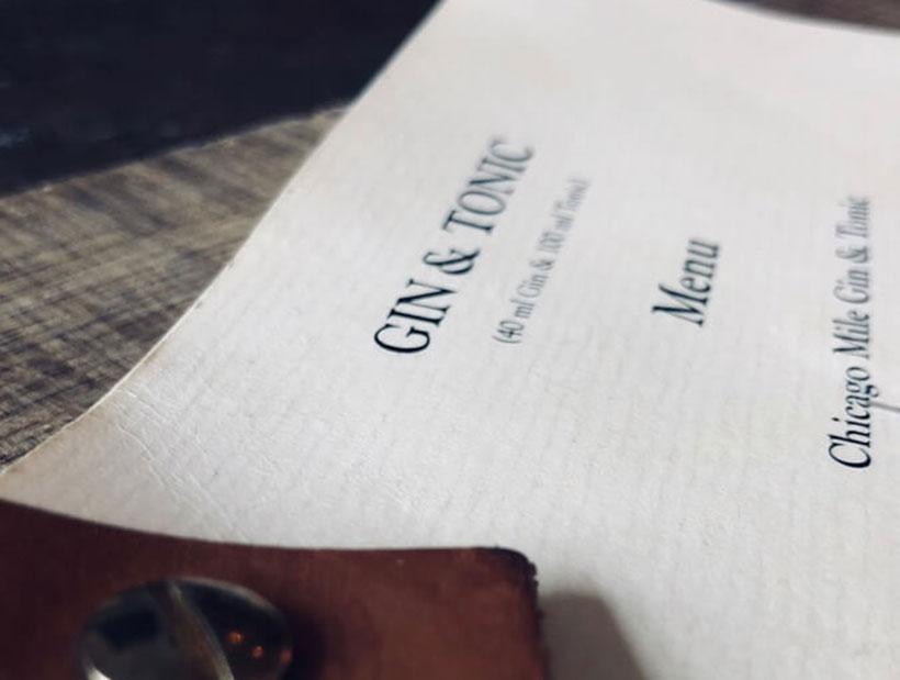 Gin and tonic menu