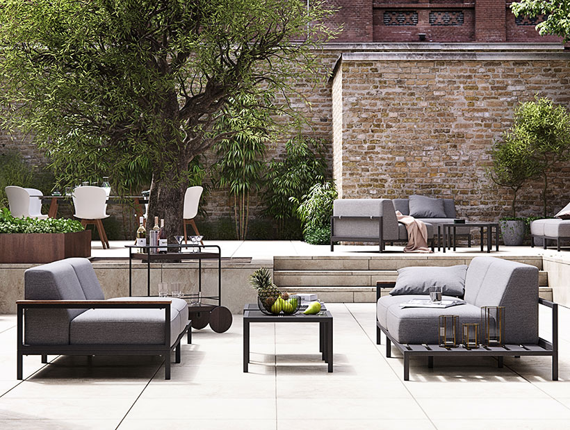 Grey Rome outdoor sofas on big terrace