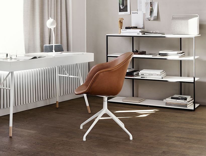 White Cuppertino desk in office setting