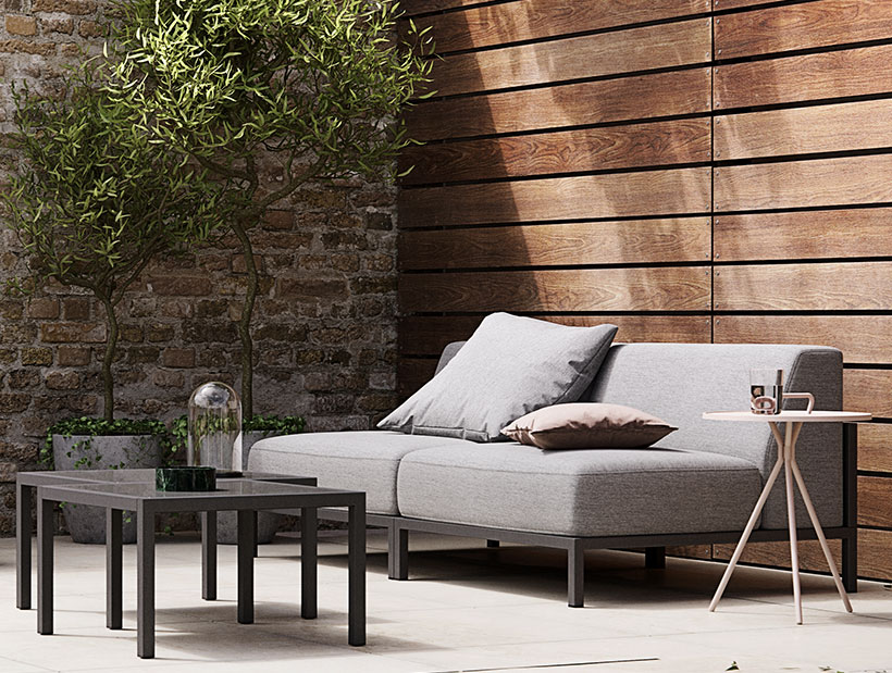Grey Rome sofa on terrace
