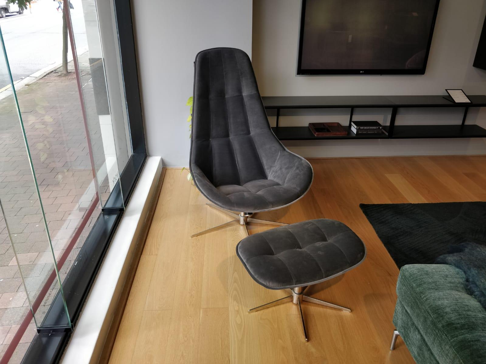 Boston Chair & Footstool, Grey Velvet