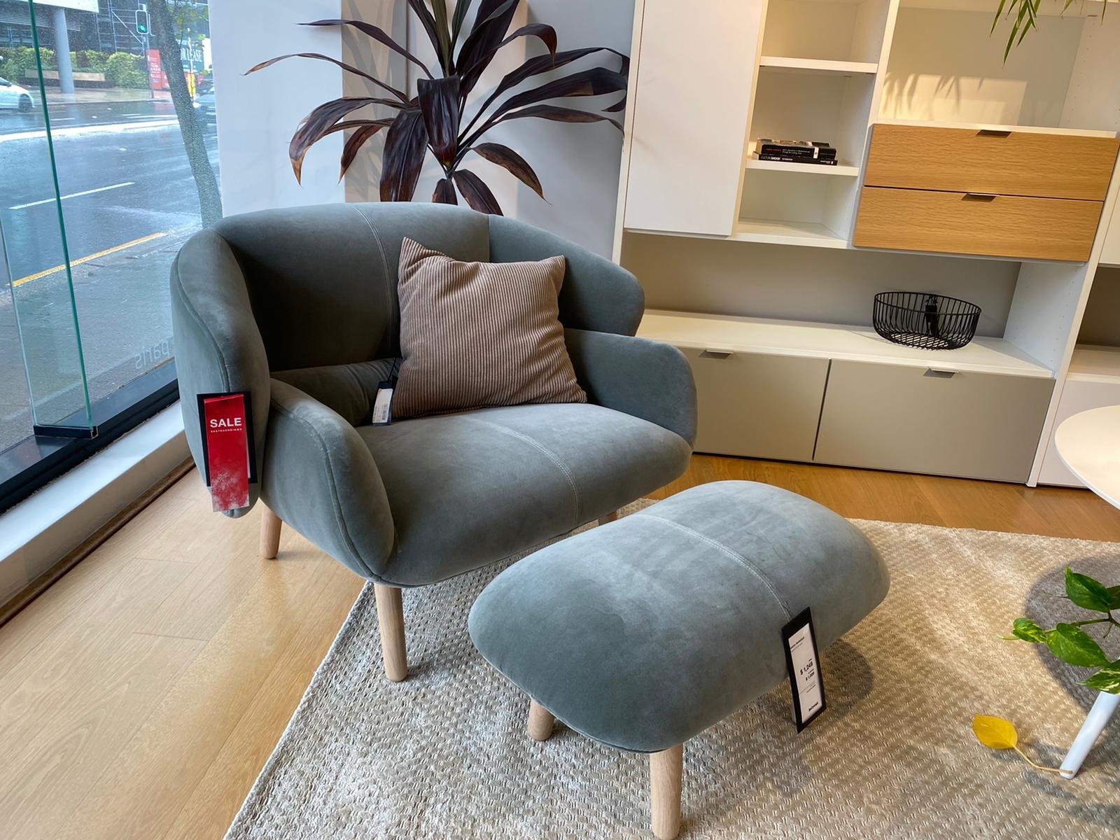 Fusion Armchair & Footstool, Light Blue Cotton Velvet