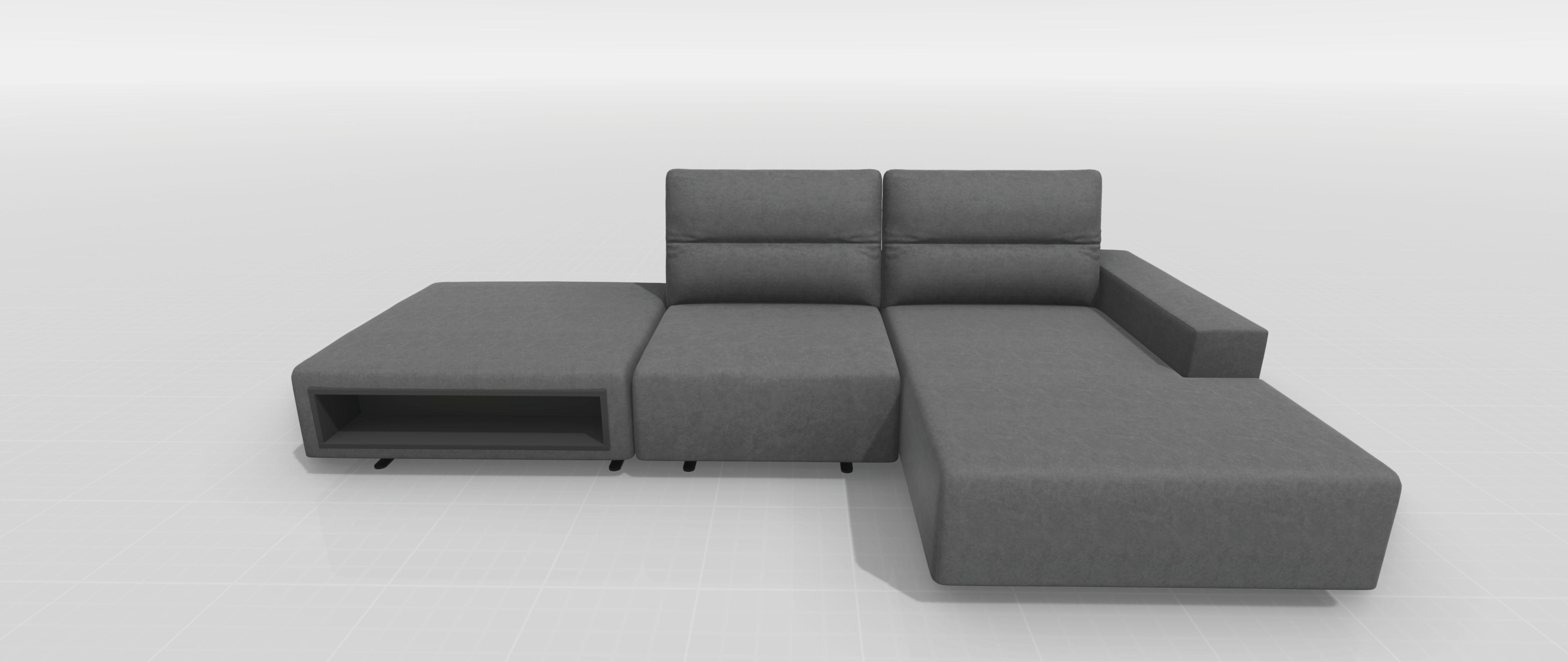 Hampton Sofa im grauen Velvet Stoff