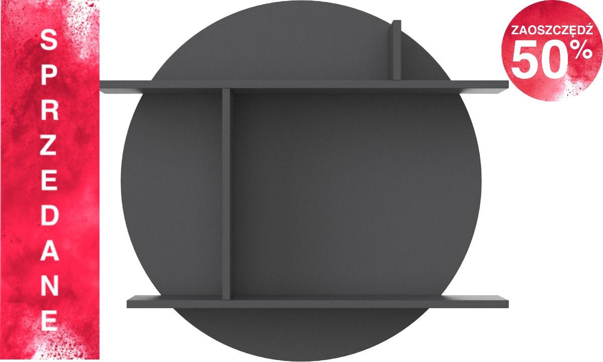 Półka Como - okrągła duża - grafitowy lakier