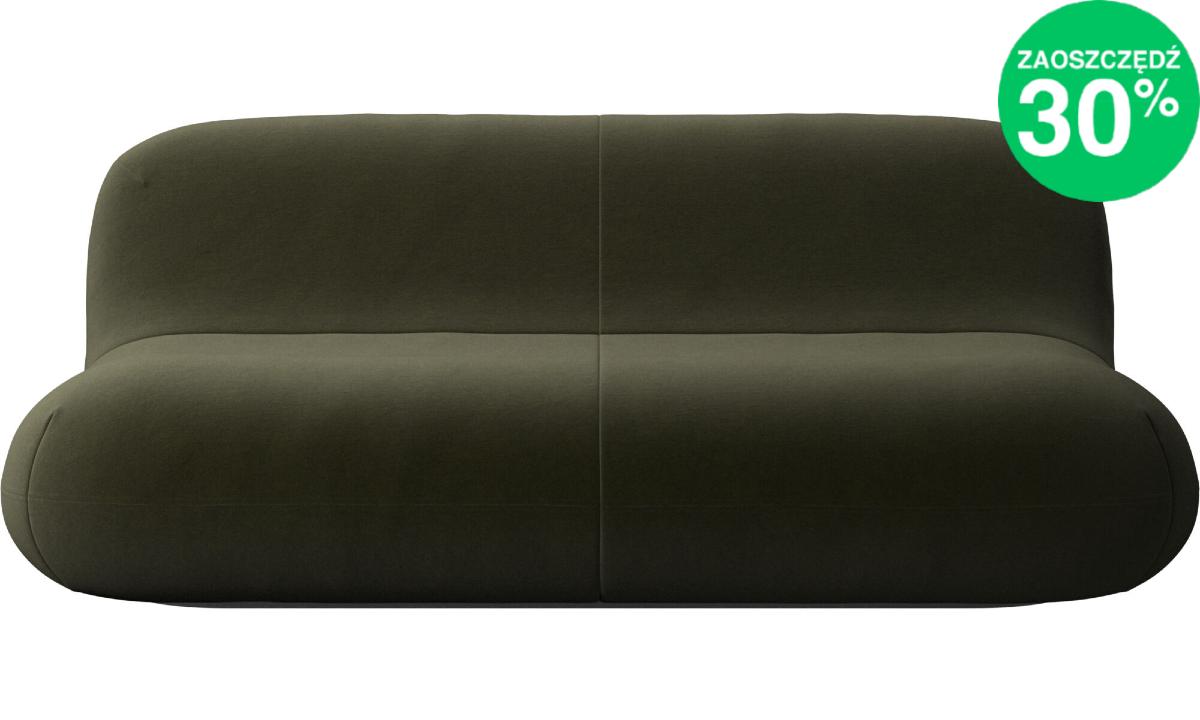 Sofa oraz fotel Chelsea w oliwkowej tkaninie Velvet 3134 (zestaw)
