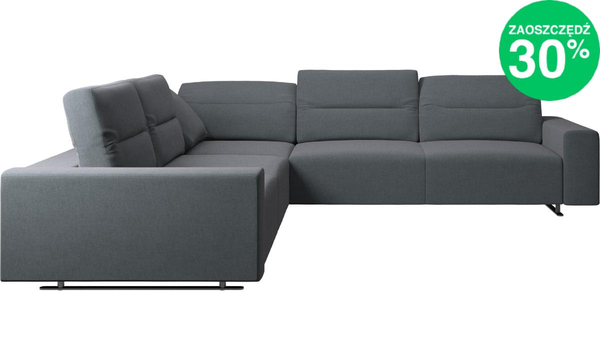 Sofa narożna Hampton z regulowanym oparciem w ciemnoszarej tkaninie Frisco 2064