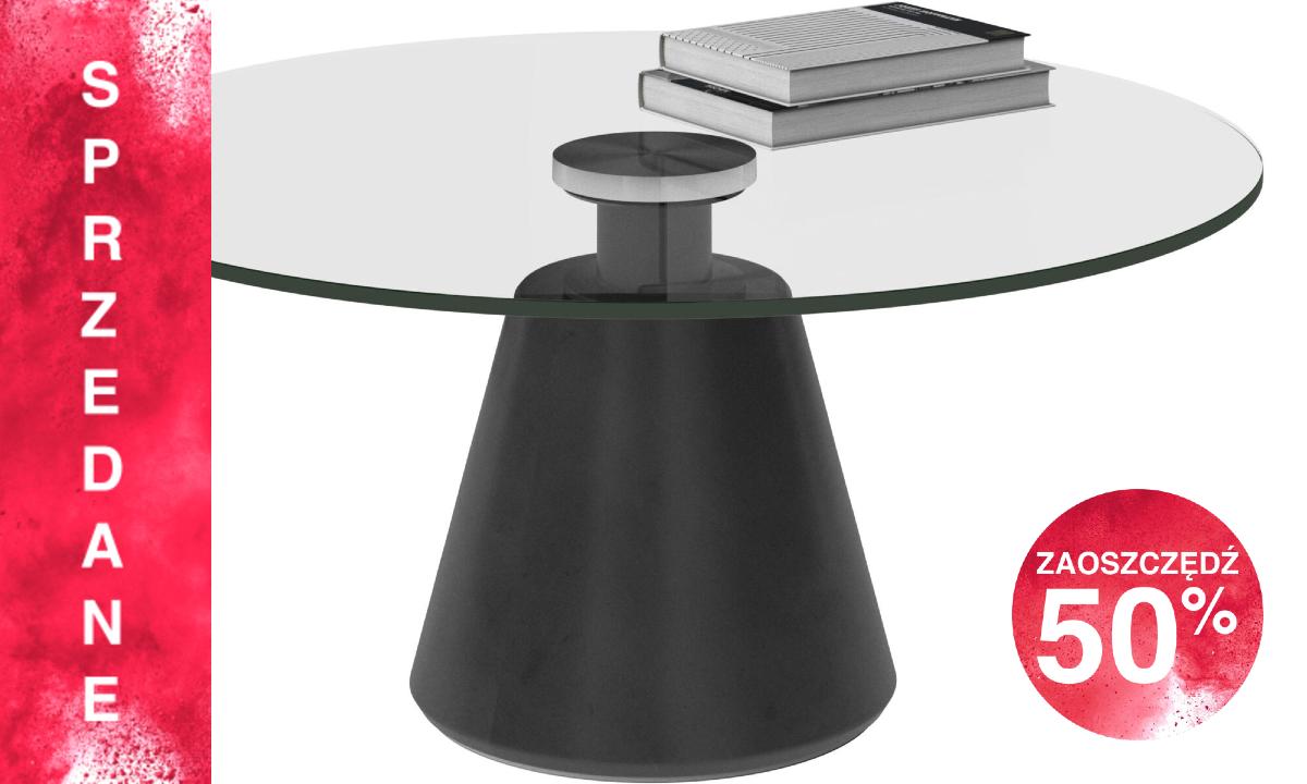 Stolik kawowy Madrid - średnica 80cm, szkło/czarny beton