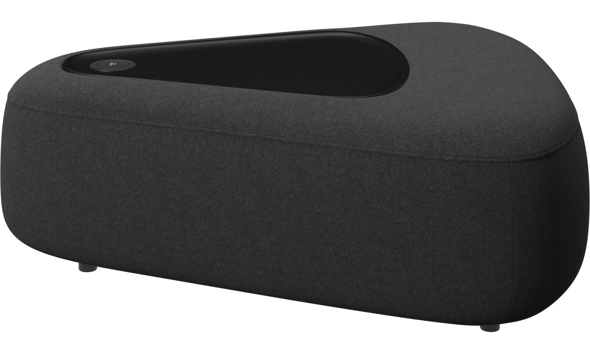 Ottawa triangular pouf with tray and USB charger